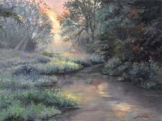 """Jack Paluh This piece is one of the newest off the palette of nature artist Jack Paluh. It is perfectly titled """"Beside Still Waters. Beside Still Waters, Nature Artists, Nature Artwork, Solitude, Natural World, Scenery, Palette, Paintings, Warm"""