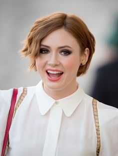 Karen Gillan styled her short hair with subtle waves for her appearance on 'Jimmy Kimmel Live!'