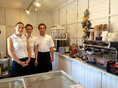 Gemma and her team all set up and ready to make a delicious coffee down at Wembury beach.
