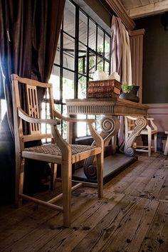 The Pierre Cronje showroom in Wynberg, Cape Town - Wolfe st, Chelsea Village. (Split-Splat carvers alongside a Scroll-Leg server) Fine Furniture, Wood Furniture, Entrance Hall, Cape Town, Showroom, Chelsea, Dining Chairs, Flooring, Home Decor