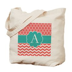 Coral And Teal Chevron Quatrefoil Tote Bag