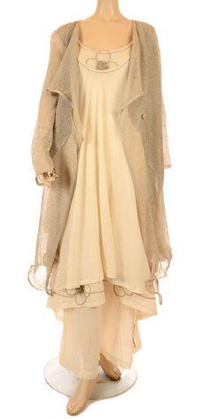 Zuza Bart Prettiest Soft Cream Double Layer Cotton Flower Dress - Summer 2013