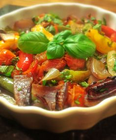 Roasted Mediterranean Vegetables in a Balsamic Glaze ~ This is a wonderful side dish that can accompany many main meals. Sweet and sour, full of flavour and utterly delicious, you will keep piling the plate high. Also works well as a cold dish when served with crusty bread to mop up the juices.    http://www.theveganhousehold.com/lunch/roasted-mediterranean-vegetables-in-a-balsamic-glaze/