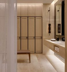 The Park Hyatt Bangkok spa is bathed in a soothing, warm neutral palette.⠀⠀… The Park Hyatt Bangkok spa is bathed in a soothing, warm neutral palette. Spa Design, Spa Interior Design, Gym Interior, Bathroom Interior, Bathroom Spa, Small Bathroom, Bathroom Mirrors, Washroom, Accor Hotel
