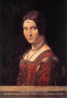 La Belle Ferroniere (Portrait of a Lady from the Court of Milan) by Leonardo da Vinci.