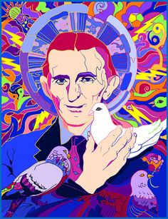 Nikola and his pigeons- artwork by Niffer Desmond. FREE poster for 1st day backers of the Tesla Coloring Book!! Teslacoloringbook.com #nikolatesla #posterart #coloringbook #popart