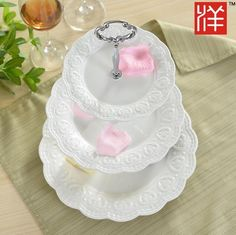 3-TIER WHITE PORCELAIN WEDDING TEA PARTY CUPKATE PLATE DISPLAY STAND DESSERT #Unbranded