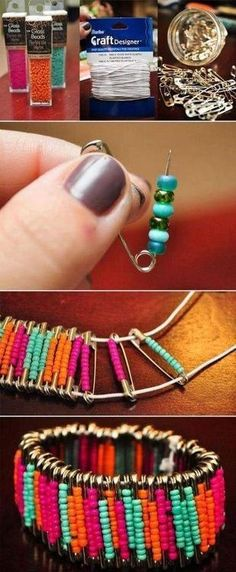 I have a bracelet like this from Africa but this is cool to make as well. You can put different colours on the inside so that you can flip it over and have completely different bracelet!