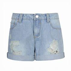 RIPPED BOYFRIEND SHORT Ripped Shorts, Denim Shorts, Short Shorts, Boyfriend Shorts, Polyvore, Stuff To Buy, Shopping, Collection, Design
