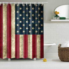 Waterproof Fabric Patriotic American Flag Print Shower Curtain