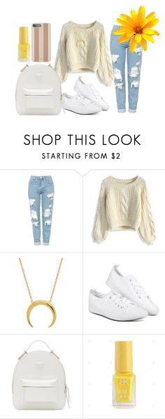 """Нежный повседневный образ"" by netapples on Polyvore featuring мода, Topshop, Chicwish, Versace и Michael Kors"