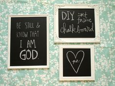 diy art frame chalkboards.... { PS : ♡ }