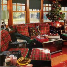 """Cindy's """"take"""" on the perfect,cozy living room. Oh, how I love plaid!!!"""