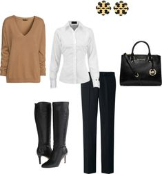 Basic ~ Outfit 14 Neutral Sweater + White Shirt + Black Pants + Black Boots Never underestimate the power of a great neutral outfit. This one is the perfect example that sometimes less can be more. You're going to love it, we promise! Pretty Style Tip of the Day: It's mani/pedi time! Share your favorite fall/winter nail colors in the Facebook group!