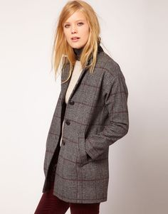 ++ nw3 checked coat w/ contrast collar