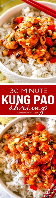 This easy, healthy, Kung Pao Shrimp tastes better than takeout and is on your table in less than 30 minutes and I LOVE that you can customize the heat!  We were all licking our plates of the savory spicy sauce!