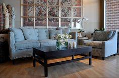 Quatrine - Houston. Francis sofa, New Grace chair, and a Cubist coffee table
