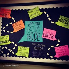 "rxforras: ""Why you gotta be so rude."" Great theme for a bulletin board on the power of words by @hannahboyd21 ""November Bulletin Board ✔️ It's not my best board aesthetically, but it's my favorite content wise. I say things all the time without thinking about who my words are affecting or misrepresenting, and I feel like a lot of people do the same. #whoareyourwordshurting #inclusion #sensitizeyourself"" #RAlife #reslife"