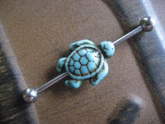 Turquoise Sea Turtle Industrial Barbell Scaffold by Azeetadesigns