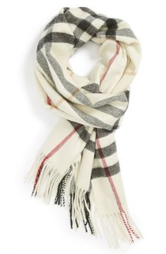 Giant Check Fringed Cashmere Scarf