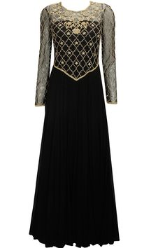 Black sequins embroidered anarkali set available only at Pernia's Pop-Up Shop.