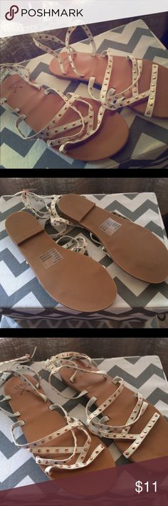 Brand New PacSun sandals LA Hearts White leather strappy sandals with rose gold accents, never been worn. Size 8/8.5 PacSun Shoes Sandals