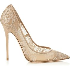 Jimmy Choo ANOUK Nude Lace Pointy Toe Pumps ($750) ❤ liked on Polyvore