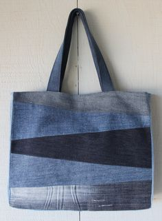 Patch Front Denim Tote Bag with Two Interior Pockets, Denim Straps and Lined with a Vintage Key Inspired Soft Canvas Fabric by AllintheJeans on Etsy