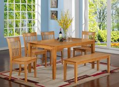 East West Furniture CANO6-OAK-W 6-Piece Dining Table Set ... https://www.amazon.com/dp/B00TV49KXY/ref=cm_sw_r_pi_dp_x.fIxbY01E31B