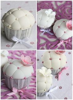 Pillow cupcakes by flickan & kakorna - For all your cake decorating… Fondant Cupcakes, Cupcake Cookies, Fondant Cake Tutorial, Mademoiselle Cupcake, Deco Cupcake, Cupcake Toppers, Tolle Cupcakes, Cupcakes Flores, Beautiful Cupcakes