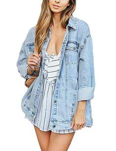 fe2e3ce474 Eliacher Women's Boyfriend Denim Jacket Long Sleeve Loose Jean Jacket Coats  (L, Pale Blue