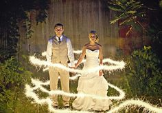 Light Trail Bride and Groom