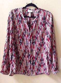 NWT LAUNDRY SHELLI SEGAL MULTI-COLOR 100% POLYESTER LONG SLEEVE BLOUSE SZ 12-$79 #Laundry #Blouse