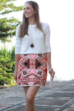 Pat's Vintage Jewelry Neckalce, Massimo Dutti Sweater, Topshop Embroidered Jacquard Skirt, Clémence Flane Clutch.jpg