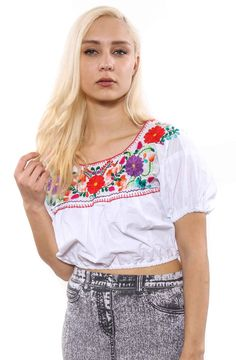 RE-WORKED MEXICAN EMBROIDERED CROPPED TOP SZ6-10