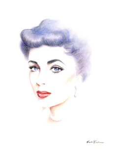 Elizabeth Taylor  - Print of  Original Colored Pencil Drawing. $18.00, via Etsy.