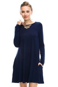 Bamboo Dress in NAVY <3 Get yours here -->http://www.shopabbyanna.com/?afmc=w3