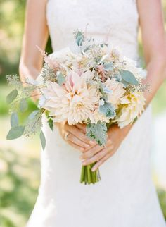 Rustic dahlias and eucalyptus: http://www.stylemepretty.com/california-weddings/santa-barbara/2015/06/16/organic-classical-condor-ridge-ranch-wedding/ | Photography: Josh Gruetzmacher - http://www.joshgruetzmacher.com/