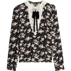 The Kooples Printed Silk Blouse (€190) ❤ liked on Polyvore featuring tops, blouses, clothing - ls tops, shirts, florals, bow blouse, silk bow blouse, floral blouses, floral silk blouse and floral print tops