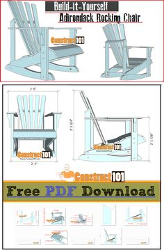 Adirondack rocking chair plans - free PDF download, cutting list, and shopping list. #woodworkingbench