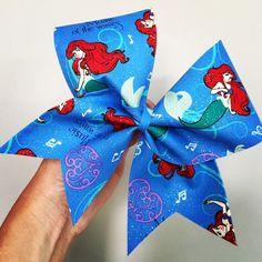 Ariel Glitter Fabric Cheer Bow The Little Mermaid Disney Disney Cheer Bows, Cheerleading Hair Bows, Cute Cheer Bows, Volleyball Bows, Cheer Mom, Big Bows, Fabric Bows, Glitter Fabric, Little Mermaid Parties