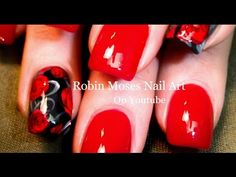 Nail Art For Beginners | Easy Red Rose Nails | Roses Nail Design Tutorial - YouTube