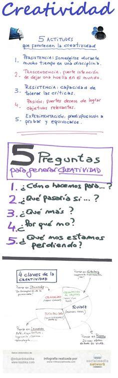 Nos falta creatividad en nuestras aulas. Aquí podéis encontrar las 5 Actitudes que favorecen la Creatividad y algunas preguntas para fomentarla.