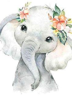 Diamond Painting Baby Elephant with Flowers Kit Diamond Painting Elefantenbaby mit Blumenset Angeboten von Bonanza Marketplace. Baby Animal Drawings, Cute Drawings, Baby Elephant Drawing, Elephant Wall Art, Drawing Animals, Baby Clip Art, Baby Art, Baby Animals, Cute Animals
