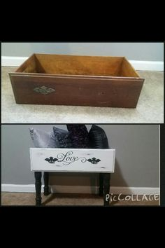 Such a cute way to repose old dressers Refurbished Furniture, Repurposed Furniture, Shabby Chic Furniture, Furniture Makeover, Painted Furniture, Recycled Dresser, Distressed Furniture, Old Dresser Drawers, Old Dressers