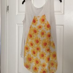 Daisy maternity tank Super cute high low maternity tank with pocket detail and sheet daisy print back panel Tops Tank Tops