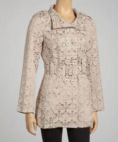 Look at this #zulilyfind! Beige Belted Jacket by Papillon Imports #zulilyfinds