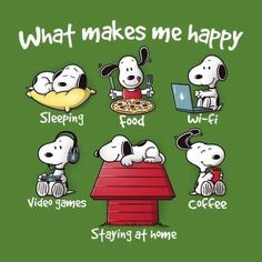 What makes snoopy happy - # Snoopy Cartoon, Peanuts Cartoon, Peanuts Snoopy, Peanuts Comics, Cartoon Art, Snoopy Pictures, Snoopy Wallpaper, Snoopy Quotes, Charlie Brown And Snoopy