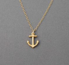 Gold Tiny Anchor Necklace also available in silver by jennijewel