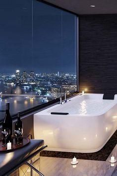 Amazing Dream Bathroom Design And Decorating Ideas - Dream rooms Apartment Bathroom Design, Bathroom Design Luxury, Dream Apartment, Penthouse Apartment, City View Apartment, Dream Home Design, Modern House Design, Home Interior Design, Modern Interior